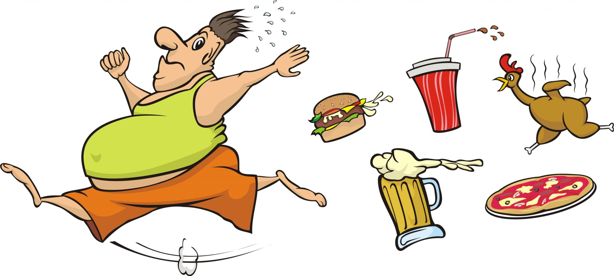 Image of a fat man chased by a pizza, a coke, a hamburger, a chicken, and a beer
