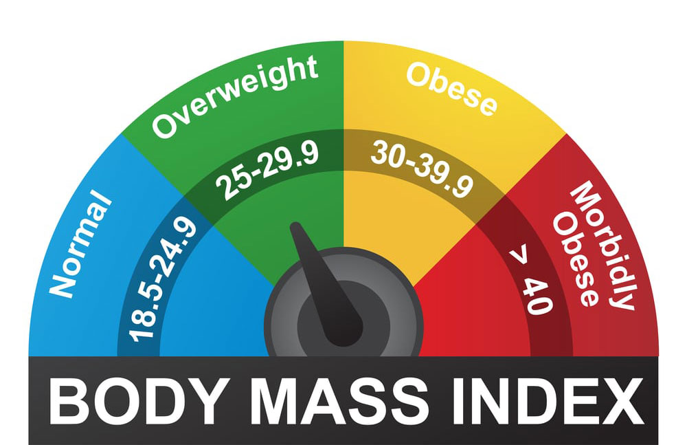 BMI or Body Mass Index infographic chart showing values for normal, overweight, obese, and morbidly obese subjects